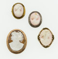 Estate Jewelry:Brooches - Pins, Shell Cameo, Gold, Silver, Metal Brooches. ... (Total: 4 Items)