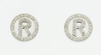 "Diamond, White Gold ""R"" Earrings"