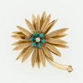 Estate Jewelry:Brooches - Pins, Diamond, Turquoise, Gold Flower Brooch. ...