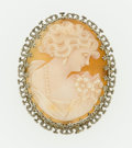 Estate Jewelry:Brooches - Pins, Shell Cameo, White Gold Pendant-Brooch. ...
