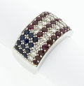 Estate Jewelry:Rings, Diamond, Ruby, Sapphire, White Gold American Flag Ring. ...