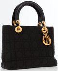 Luxury Accessories:Accessories, Christian Dior Black Canvas Lady Bag with Leather Shoulder Strap . ...