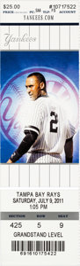 Baseball Collectibles:Tickets, 2011 Derek Jeter 3,000th Hit Full Ticket....