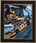Autographs:Others, 1990 Rusty Wallace Signed Original Artwork....