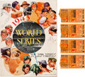Autographs:Photos, 1943 Babe Ruth Signed World Series Program with Ticket Stubs(4)....