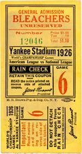 Baseball Collectibles:Tickets, 1926 New York Yankees vs. St. Louis Cardinals World Series Game SixTicket Stub....