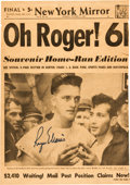 Baseball Collectibles:Others, 1960's Roger Maris Signed New York Mirror Newspaper, PSA/DNA GemMint 10. ...