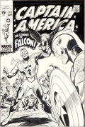 Original Comic Art:Covers, Gene Colan and Joe Sinnott Captain America #117 FirstAppearance of the Falcon Cover Original Art (Marvel, 1969)....