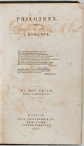 Books:Literature Pre-1900, [Women's Rights]. [Abolitionist]. [Lydia Maria Child]. Mrs. Child.Philothea. Boston: Otis, Broaders and Co. and New...