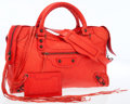 Luxury Accessories:Accessories, Balenciaga Red Leather Motorcycle Bag . ...