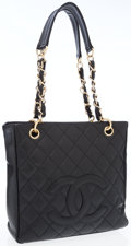 Luxury Accessories:Accessories, Chanel Black Quilted Caviar Leather Petite Shopping Tote Bag . ...