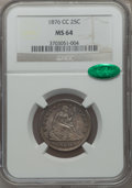 Seated Quarters, 1876-CC 25C MS64 NGC. CAC....