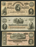 Confederate Notes:1862 Issues, T41 $100 1862 PF-12 Cr. 317A;. T65 $100 1864 PF-2 Cr. 493;. T68 $101864 PF-20 Cr. 546.. ... (Total: 3 notes)
