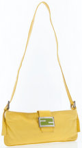 Luxury Accessories:Accessories, Fendi Yellow Leather Pouch with Shoulder Strap. ...