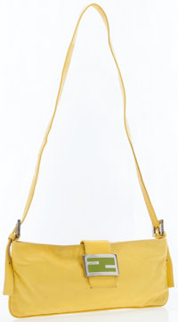 Fendi Yellow Leather Pouch with Shoulder Strap
