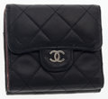 Luxury Accessories:Accessories, Chanel Black Quilted Leather Trifold Wallet . ...