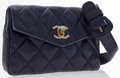 Luxury Accessories:Accessories, Chanel Navy Quilted Leather Belt Pouch with CC Turnlock. ...