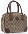 Luxury Accessories:Bags, Gucci Classic Monogram Canvas Bag with Brown Leather Handles. ...