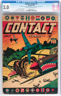 Golden Age (1938-1955):War, Contact Comics #nn (#1) (Aviation Press, 1944) CGC GD 2.0 Cream tooff-white pages....