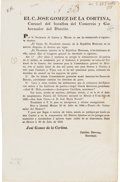 Miscellaneous:Ephemera, [Broadside]. Decree Creating Adjutant General Post for Coahuila and Texas....