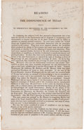 Miscellaneous:Ephemera, [William Harris Wharton]. Reasons why the Independence of Texasshould be Immediately Recognized by the Government of th...
