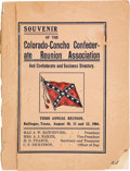 Miscellaneous:Booklets, Souvenir of the Colorado-Concho Confederate Reunion Association and Confederate and Business Directory....