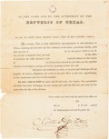 Autographs:Statesmen, [Sam Houston]. Unengrossed Political Appointment SecretariallySigned....