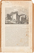 Autographs:Authors, Early Engraving of the Alamo Featured in Graham's Magazine and Identified by Alexander Dienst....