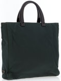 Luxury Accessories:Bags, Prada Dark Green Canvas Tote Bag with Lucite Handles. ...