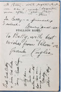 Autographs:U.S. Presidents, [Ronald Reagan]. Early Signature Contained In a Cast Signed Copy ofStallion Road. Other notable sig...