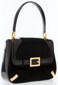 Luxury Accessories:Bags, Dolce & Gabbana Black Leather Top Handle Bag. ...