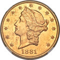 Liberty Double Eagles, 1881 $20 -- Obverse Improperly Cleaned -- NGC Details. AU....