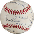Baseball Collectibles:Balls, Ernie Banks Single Signed, Stat Inscribed Baseball....