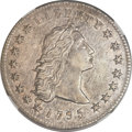 Early Dollars, 1795 $1 Flowing Hair, Three Leaves -- Reverse Tooled -- NGCDetails. AU. B-6, BB-25, R.3....