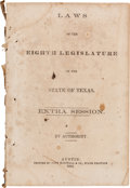 Miscellaneous:Booklets, [Confederate Texas]. Laws of the Eighth Legislature of the Stateof Texas. Extra Session....