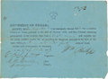 Autographs:Statesmen, Edwin Oswald Legrand Republic of Texas Oath Signed....