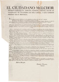Miscellaneous:Ephemera, Melchor Muzquiz: Broadside Decree to Establish ConstitutionalLegislatures of the Three Newly Formed States....