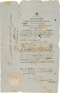 Miscellaneous:Ephemera, [Republic of Texas]. License to Carry on the Coasting Trade for OneYear....