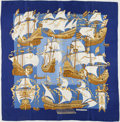 "Luxury Accessories:Accessories, Hermes Blue & Gold ""Armada,"" Christiane Vauzelles Silk Scarf...."