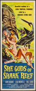 "Movie Posters:Adventure, She Gods of Shark Reef (American International, 1958). Insert (14""X 36""). Adventure.. ..."