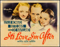 "Movie Posters:Comedy, It's Love I'm After (Warner Brothers, 1937). Half Sheet (22"" X 28""). Comedy.. ..."