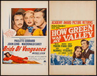 "How Green Was My Valley & Other Lot (20th Century Fox, R-1947). Window Cards (2) (14"" X 22""). Drama. ... (..."