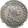 Early Dollars, 1795 $1 Flowing Hair, Three Leaves, Silver Plug -- Plugged -- NGCDetails. VF. B-7, BB-18, R.3....