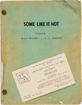 "Movie/TV Memorabilia:Documents, A Marilyn Monroe-Related Script Personally-Owned by Al Brenemanfrom ""Some Like It Hot.""..."