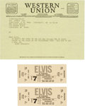 Music Memorabilia:Memorabilia, Elvis Presley Related Fantasy Ticket and Telegram Group....