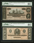 Confederate Notes:1864 Issues, T67 $20 1864 PF-38 Cr. 538. T71 $1 1864 PF-12 Cr. 574.. ... (Total: 2 notes)
