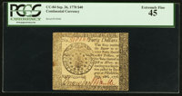 Continental Currency September 26, 1778 $40 PCGS Extremely Fine 45
