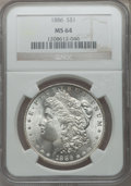 Morgan Dollars: , 1886 $1 MS64 NGC. NGC Census: (51141/26458). PCGS Population(40982/17431). Mintage: 19,963,886. Numismedia Wsl. Price for ...