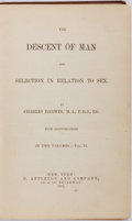 Books:Natural History Books & Prints, Charles Darwin. The Descent of Man and Selection in Relation to Sex, Volume II Only. D. Appleton and Company, 18...