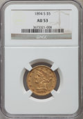 Liberty Half Eagles: , 1894-S $5 AU53 NGC. NGC Census: (20/122). PCGS Population (14/39). Mintage: 55,900. Numismedia Wsl. Price for problem free ...